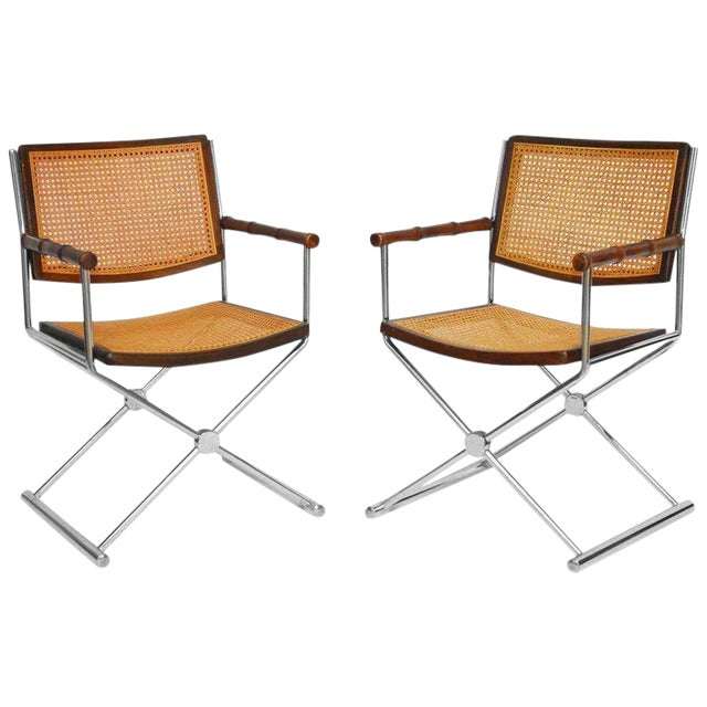 Mid-Century Chrome and Caned Director Chairs - A Pair - Image 1 of 8