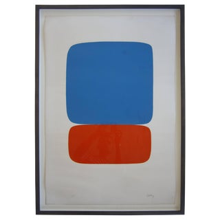 """Blue & Orange"" Lithograph by Ellsworth Kelly For Sale"