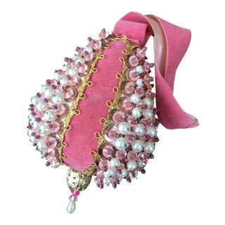 1950s Mid Century Beaded Fancy Christmas Ornament - Pink Pear With White For Sale