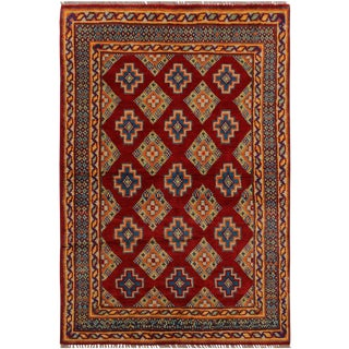 Southwestern Balouchi Andre Red/Teal Wool Rug - 3'3 X 5'1 For Sale