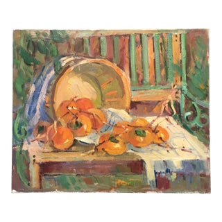 Basket of Persimmons Painting by Known Artist Kanya Bugreyev For Sale