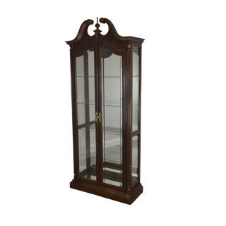 Pulaski 18th Century Collection Cherry Lighted Curio Display Cabinet For Sale