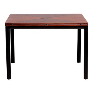 Tecno of Italy Rosewood Table With Fold Up Leaves For Sale