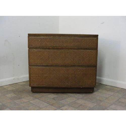 Danish Modern Edward Wormley Directional Danish Modern Woven Cain Dresser For Sale - Image 3 of 7