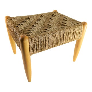 Vintage Mid-Century Danish Modern Woven Wooden Stool For Sale