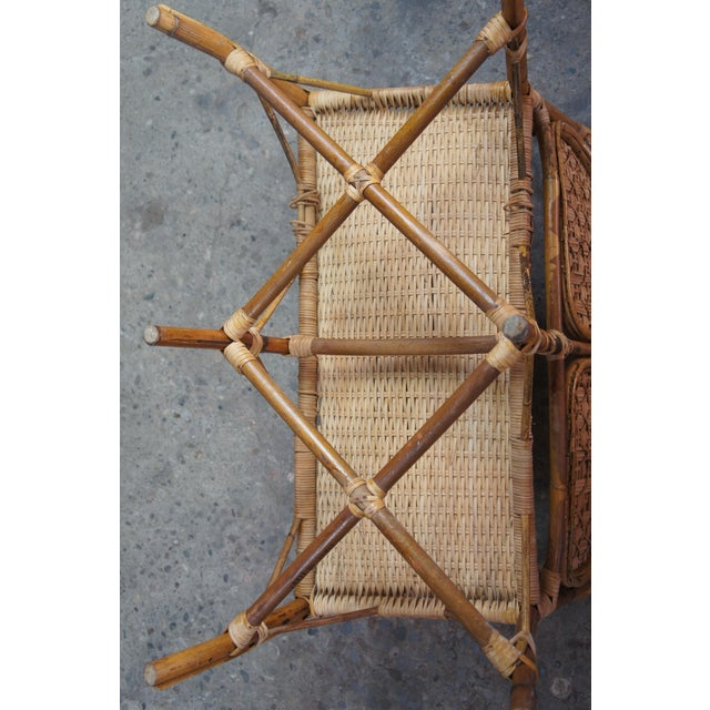 Antique Child's Rattan Cained Bamboo Settee For Sale - Image 9 of 11
