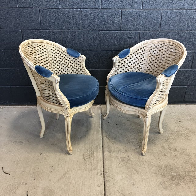 1960s Louis XV Style Barrel Back Caned Bergere Chairs - a Pair For Sale - Image 12 of 12