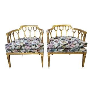 1960's Dorothy Draper Style Barrel Back Lounge Chairs - a Pair For Sale