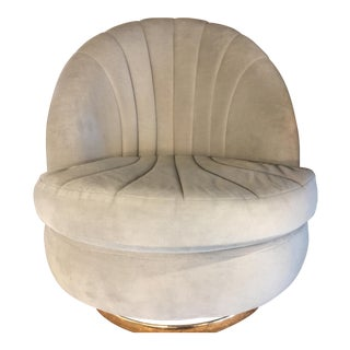 1980s Vintage Milo Baughman Swivel Clam Chair For Sale