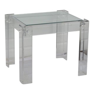 Mid Century Lucite Acrylic Glass Top Side Table 2052 For Sale