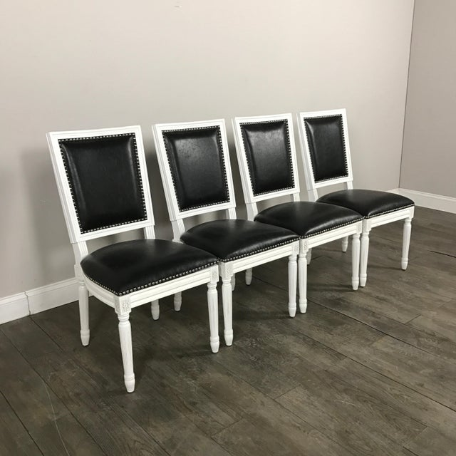 Leather Louis Dining Chairs - Set of 4 - Image 6 of 11