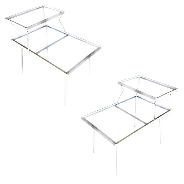 Two-Tier Art Deco Glass Top Outdoor/Patio Side Tables by Woodard - a Pair For Sale