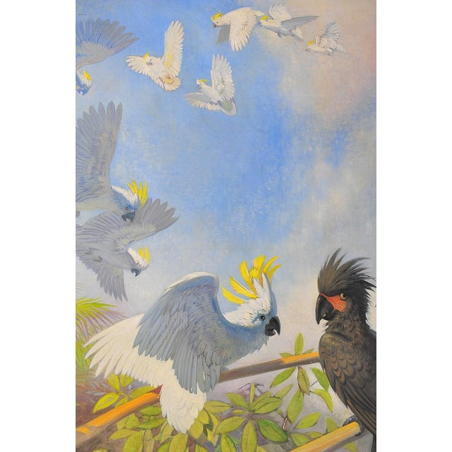Boho Chic White Parrots, Oil Painting by J. Moessel For Sale - Image 3 of 10