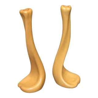 Tiffany & Co. Glazed Terracotta Candle Sticks - A Pair For Sale