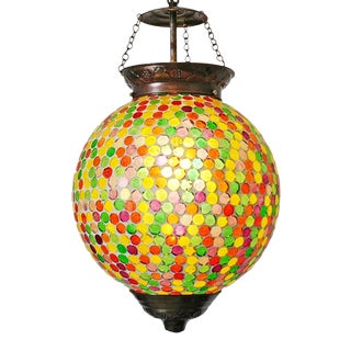 Party Color Mosaic Globe Pendant For Sale