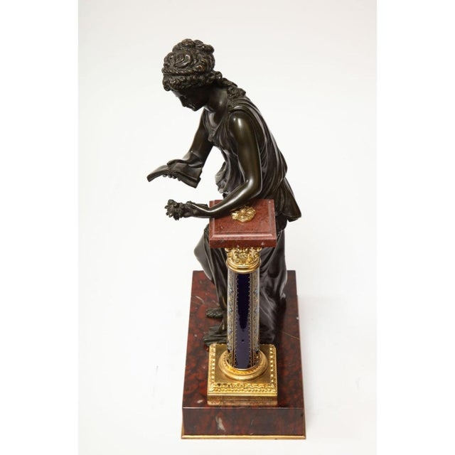 Exquisite French Bronze, Rouge Marble, and Sèvres Style Porcelain Sculpture For Sale - Image 11 of 13