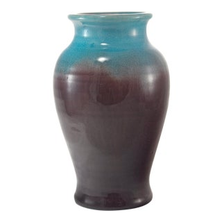 1930s Cottage Turquoise & Eggplant Crackle Glaze Pottery Vase