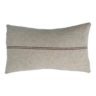 Italian FirmaMenta Eco-Friendly Pink and Brown Stripes Cream Wool Lumbar Pillow For Sale