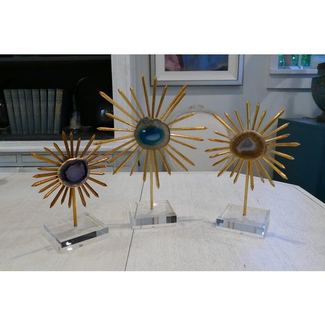 Agate & Gold Leaf Starburst Tabletop Sculptures - Set of 3 For Sale - Image 9 of 9