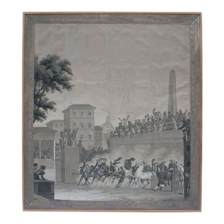Grisaille Panel Depicting Neapolitans Watching Horse Racing For Sale