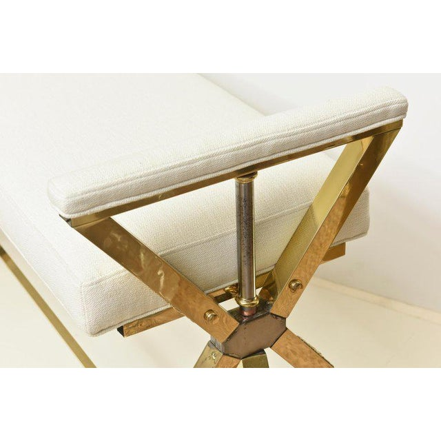 1950s Mid-Century Modern Brass and Steel and Upholstered 3-Legged Bench For Sale - Image 5 of 8