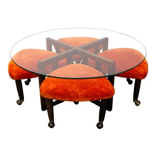 Adrian Pearsall Coffee Table and Guitar Pick Stools - 5 Pieces For Sale