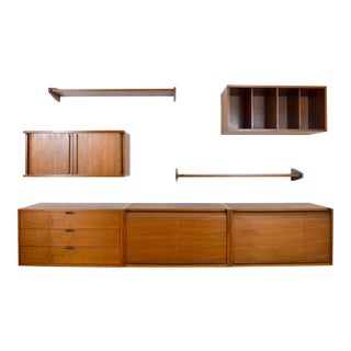 Midcentury Floating Walnut Wall Unit For Sale