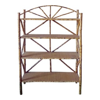 18th Century Country Bamboo Adirondack Lake Cabin Art Shelf For Sale