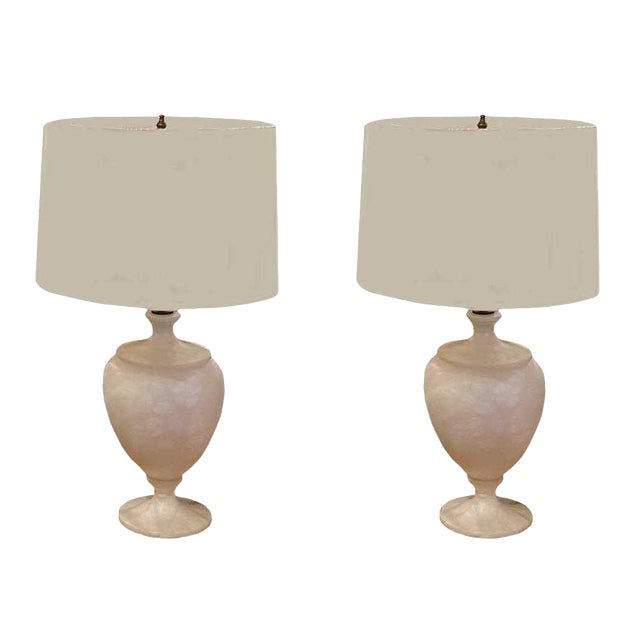 Mid 20th Century White Marble Urn Shape Lamps With Shades - a Pair For Sale