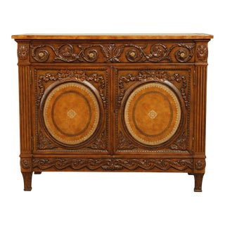 Maitland Smith Carved Louis XVI Style Leather Wrapped Chest, Cabinet For Sale