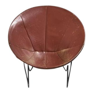 Leather Hoop Chair with Iron Hairpin Frame, California, 1950s For Sale