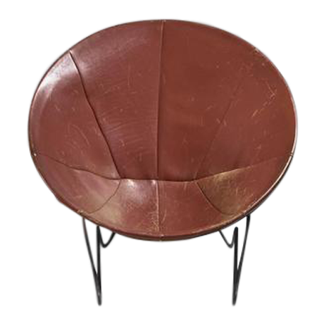 Superieur Leather Hoop Chair With Iron Hairpin Frame, California, 1950s   Image 1 Of 6