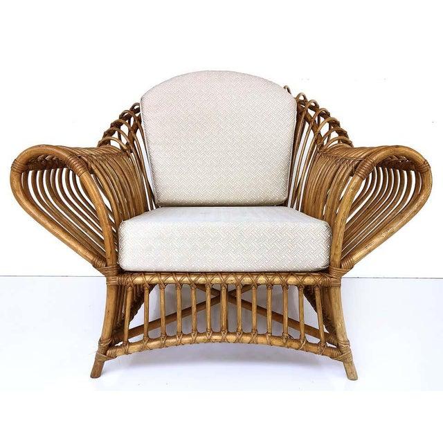 1980s Franco Albini Rattan Chair and Ottoman Set For Sale In Miami - Image 6 of 12
