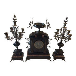French Black Marble Mantle Clock With Candelabras For Sale