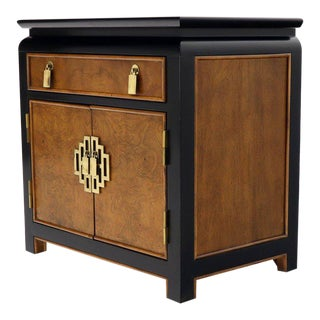 Black Lacquer Burl Wood Brass Hardware 1 Drawer Double Door Compartment Stand For Sale