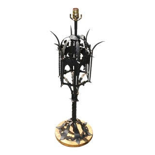 Black Gothic Metal Table Lamp With Gold Base For Sale