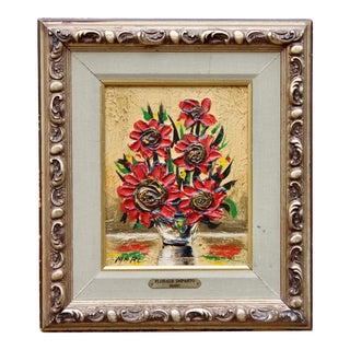 "Vintage Wildflower Floral Still Life Original Oil Painting ""Florals Impasto"" by Julian Marc For Sale"