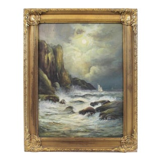 Late 19th Century Oil on Board Seascape Painting For Sale
