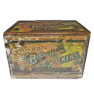 1900s Americana Advertising f.s. Wertz & Co. Biscuits & Crackers Wood Crate Box For Sale