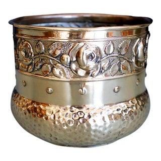 Small English Brass Repoussé Cachepot