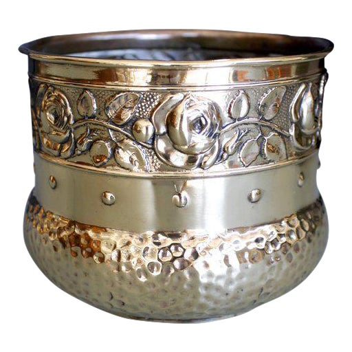Small English Brass Repoussé Cachepot - Image 1 of 7