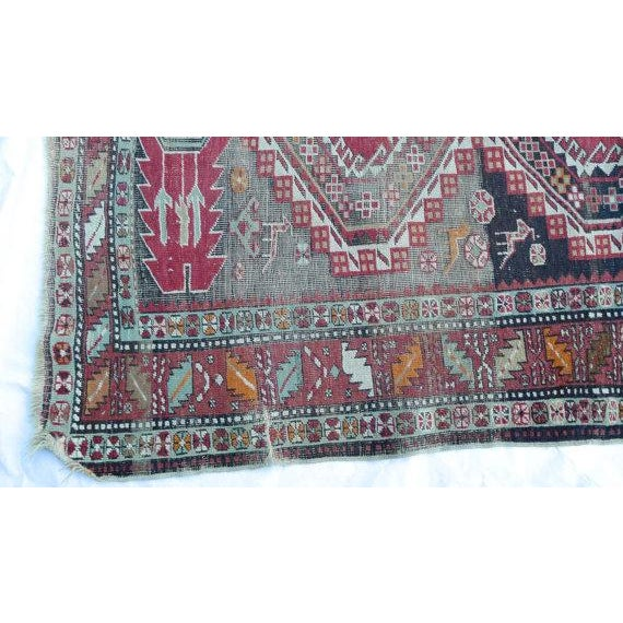 Antique Worn Geometric Tribal Rug - 3′6″ × 5′10″ - Image 3 of 6