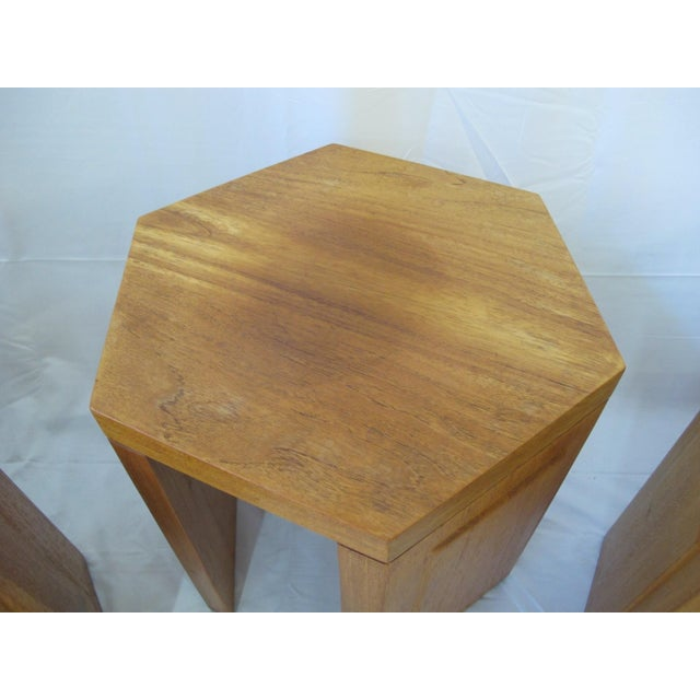 Wood McGuire San Francisco Hexagon Side Tables - Set of 5 For Sale - Image 7 of 10