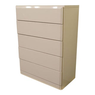 20th Century Contemporary Lane Furniture White Lacquered 5-Drawer Chest of Drawers For Sale