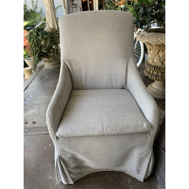 Industrial Lee Outdoor Slipcovered Chair on Casters For Sale - Image 3 of 3