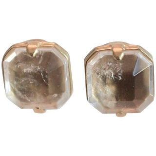 Goossens Paris Clear Rock Crystal Clip Earrings For Sale