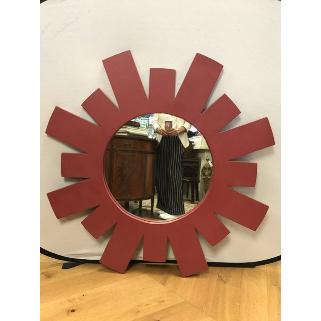 1960s Mid Century Red Geometric Starburst Wall Mirror For Sale - Image 5 of 5