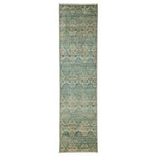 "Eclectic, Hand Knotted Green Wool Runner Rug - 2' 6"" X 9' 9"" For Sale"