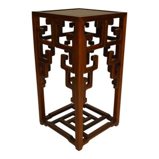 Asian Chinese Hardwood Pedestal Stand with an Open Design Under Top For Sale