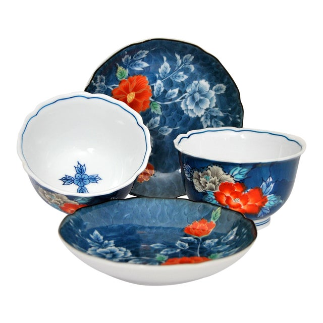 Iro-Nabeshima Imaemon Porcelain Teacups and Saucers Chawan Tea Bowls Overglaze Enamel Multicolor Flowers For Sale